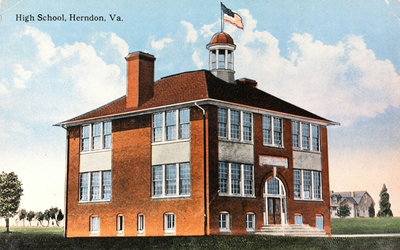 Circa 1920 postcard showing the two-story Herndon High School building.