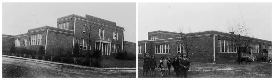 Two black and white photographs of Herndon High School taken in March 1937 by the Virginia Department of Education. The first shows the front of the school and the second the rear of the building with students in the foreground.