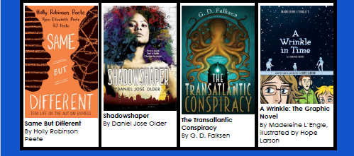 image of book covers for same but different, shadowshaper, the transatlantic conspiracy, and a wrinkle in time the graphic novel